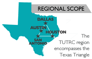 Dallas, Houston, San Antonio: The Texas Urban Triangle Regional Center encompasses the Texas Triangle